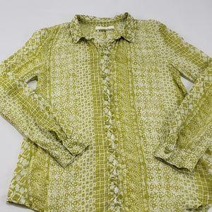 Hei Hei Anthropologie Green Floral Cotton Shirt